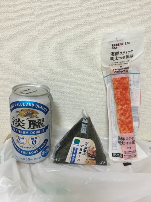 淡麗 プラチナダブル、藻塩使用・シーチキンマヨネーズオニギリ、海鮮スティック明太マヨ風味