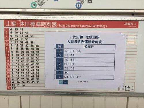 東京メトロ千代田線北綾瀬駅ホームの土曜・休日標準時刻表、大晦日終夜運転時刻表(2015年の年末)