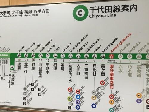 東京メトロ千代田線・国会議事堂前駅のホームにある路線図-国会議事堂前駅付近
