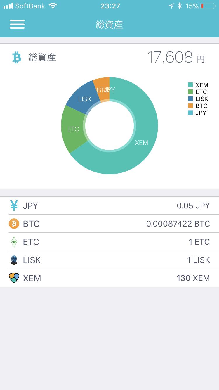 coincheckの総資産画面(仮想通貨ごとのコイン数)2018年1月26日23時27分時点