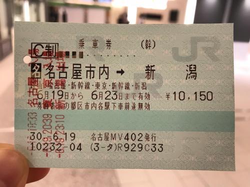 名古屋市内の駅から新潟駅までの乗車券(改札機を三回通した日時スタンプ付)