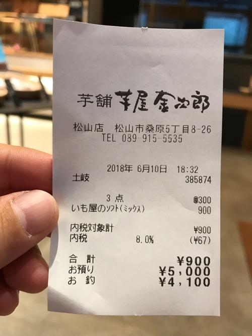 芋屋金次郎松山店でソフトクリーム「いも屋のソフト(ミックス)」を3本購入した時のレシート
