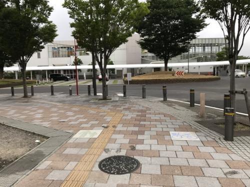 宮城県名取市の市章と名取市の花・花桃が描かれたマンホールの蓋がある歩道周辺の様子とJR名取駅