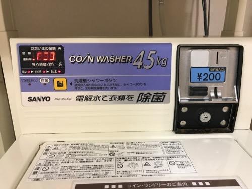 金沢シティホテルのコインランドリの洗濯機の「シャワーボタン」押下後のデジタル表示部