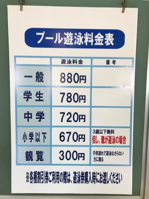 イヨテツスポーツセンターのプール遊泳料金表