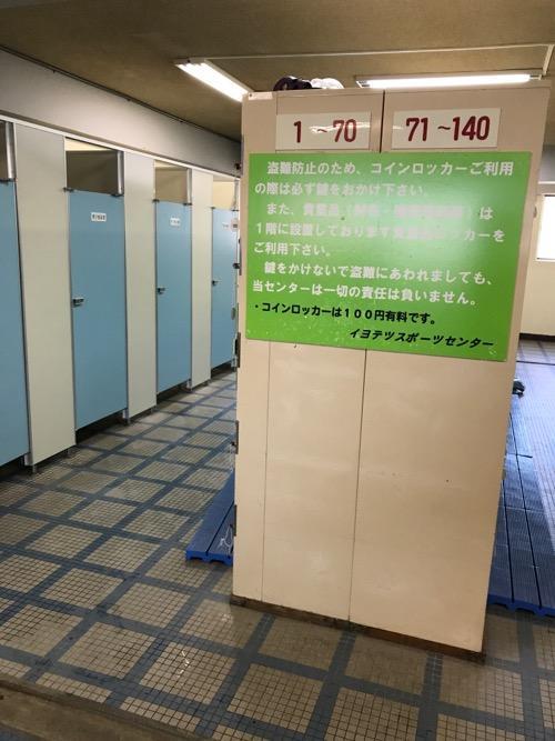 イヨテツスポーツセンターの受付窓口すぐ隣の男性用更衣室とコインロッカー