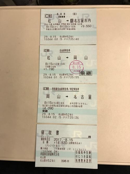 JR松山駅からJR名古屋駅までの乗車券、自由席特急券、新幹線自由席特急券、領収書