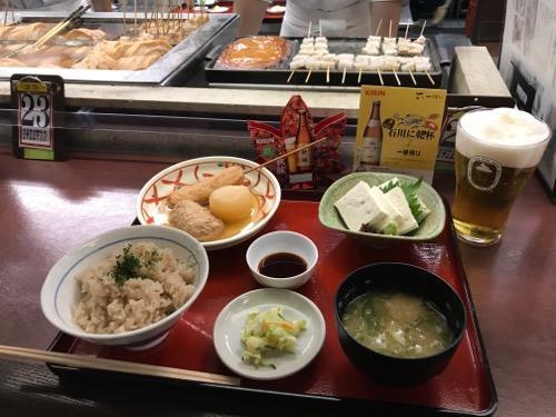 金沢駅の季節料理おでん黒百合の茶飯定食