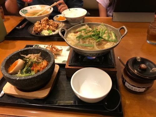 チャンポン鍋石焼ビビンバチャーハンセット(元気いちばん亭)