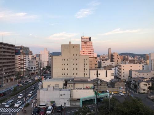 アビスイン岡山のシングルルームの部屋からの眺め