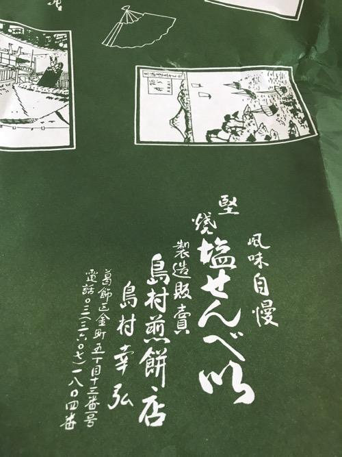 島村煎餅の包装紙に記載されている連絡先情報など