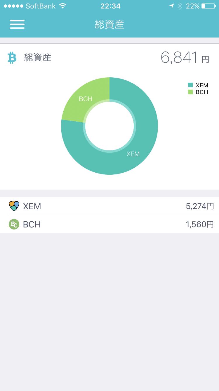 coincheckの総資産画面(XEM5274円、BCH1560円、合計6841円) 2017年11月13日22時34分時点