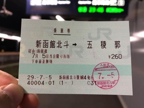 新函館北斗から五稜郭までの乗車券