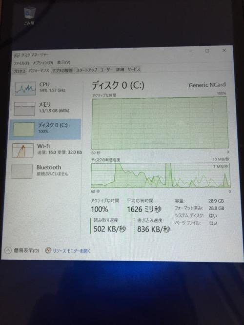 iRULU Walknbook W3Mini 8 JW008(Windows 10タブレット)のディスク使用状況