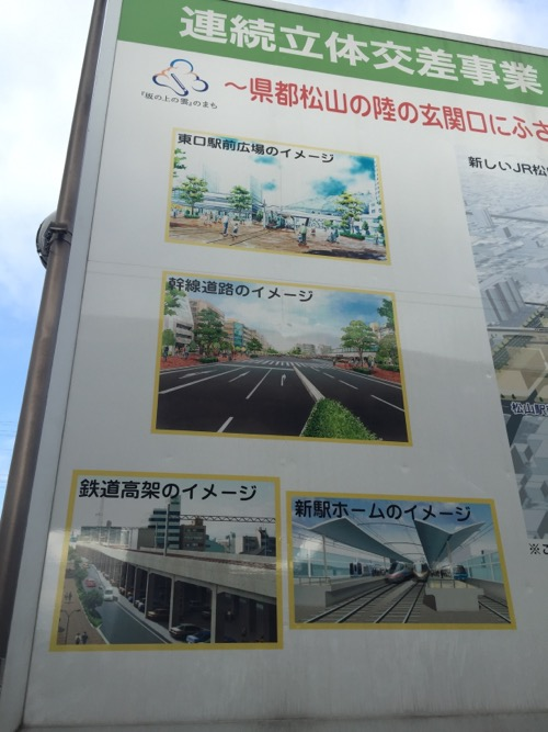 JR松山駅にある看板に描かれる高架等のイメージ