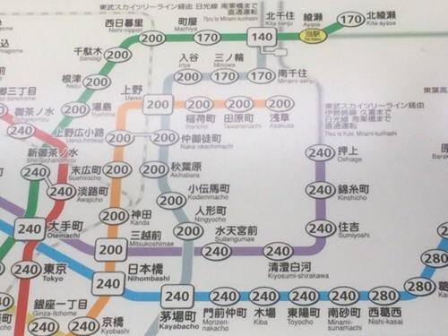 東京メトロ・JR綾瀬駅の東京メトロきっぷ運賃表の綾瀬駅付近