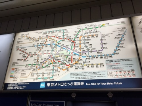 東京メトロ北綾瀬駅の東京メトロきっぷ運賃表