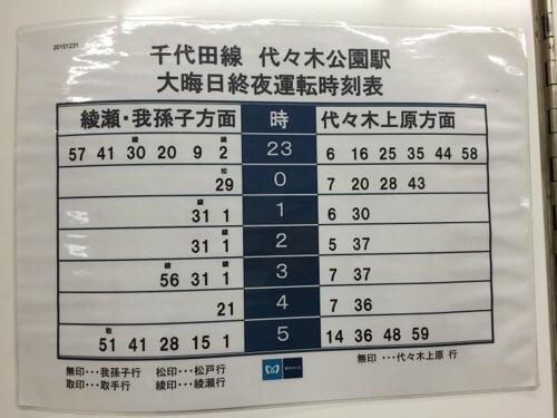 東京メトロ千代田線代々木公園駅の大晦日終夜運転時刻表(2015年の年末)