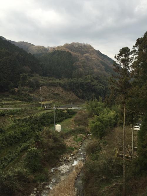 本谷出湯橋から眺めた大明神川の下流