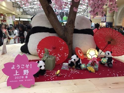 上野駅の桜とパンダ(子パンダ達と後ろ姿のパンダの親達)-ようこそ!上野2017年春