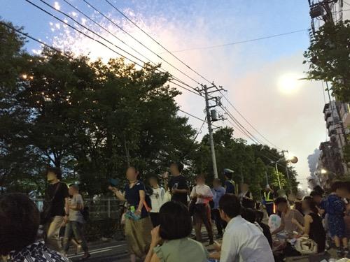 平成28年 第39回隅田川花火大会 隅田川に近い道路を歩くたくさんの人と木が邪魔になって見えにくい花火