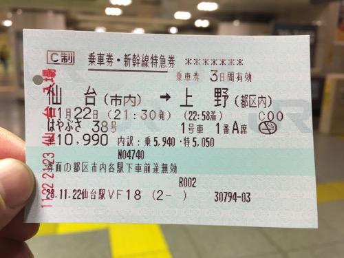 仙台駅から上野駅までのJR乗車券・新幹線特急券
