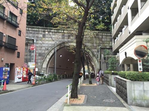 愛宕西参道側から見た愛宕トンネル