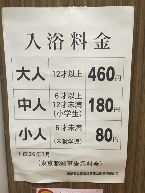 東京都中央区銀座の銭湯「銀座湯」の入浴料金表