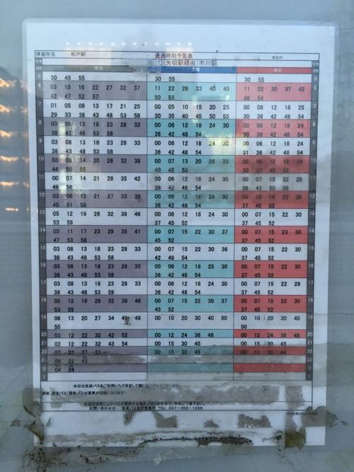 JR松戸駅3番バス停の時刻表 - 通過時刻予定表 (矢切駅経由)市川駅行