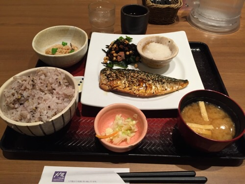 大戸屋金町駅前店で注文したさばの炭火焼き定食