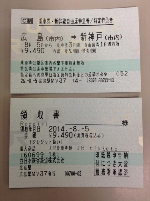 JR広島駅からJR新神戸駅経由で神戸市営地下鉄三宮駅に移動する