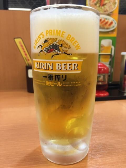 中華食堂 日高屋 金町北口店で生姜焼き定食と生ビール中を頂く
