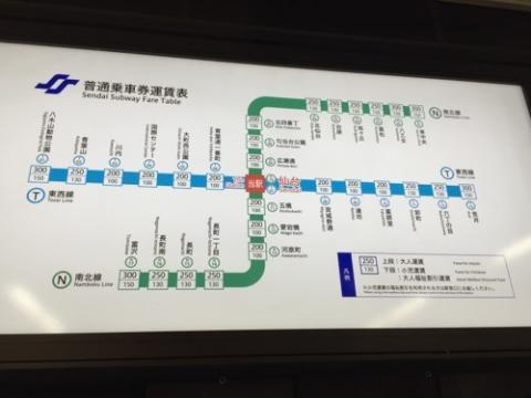 仙台市の地下鉄「仙台市交通局」仙台駅の普通乗車券運賃表、普通乗車券、領収書