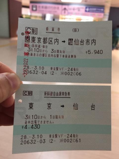 JR東京駅から仙台駅まで新幹線自由席で移動した時の乗車券、領収書など
