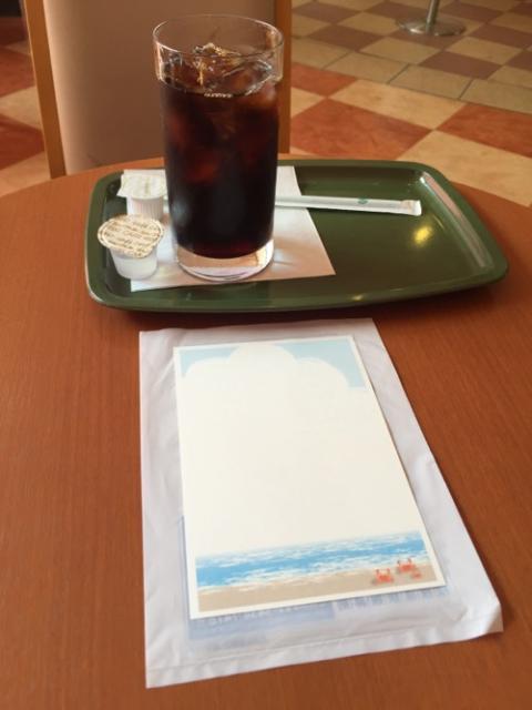 娘宛の暑中見舞の葉書をカフェで書くと楽しい