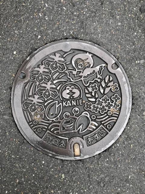 愛知県蟹江町のマンホールの蓋 - 近鉄蟹江駅付近