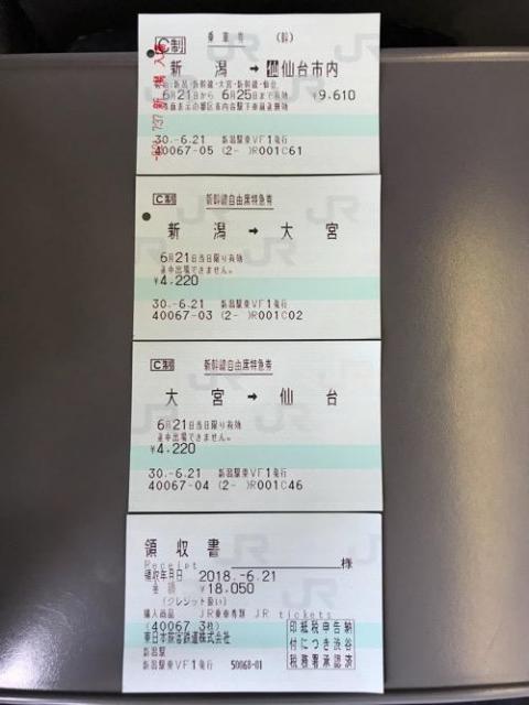 新潟駅から仙台駅まで新幹線で移動した時の切符と領収書