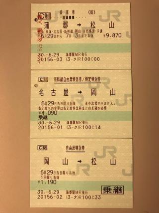 蒲郡駅から松山駅まで列車で移動した時の切符、領収書、移動ルート、所用時間など