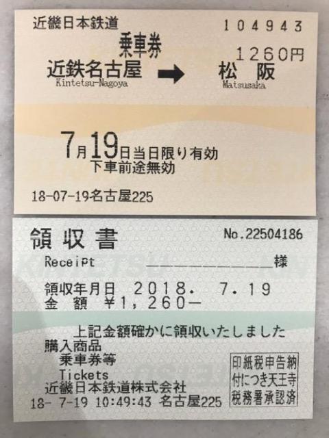 近鉄名古屋駅から松阪駅まで電車で移動した時の切符、領収書など