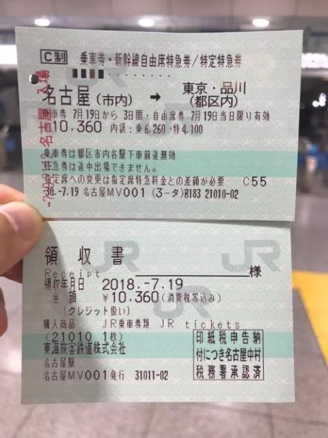 名古屋駅から東京駅まで新幹線で移動した時の切符と領収書など