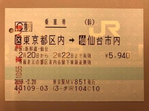 東京駅から仙台駅まで新幹線の指定席で移動した場合の切符、領収書等