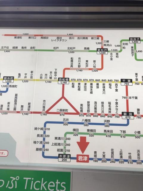 君津駅から船橋駅までの列車の運賃はICカードよりも現金の方が安い