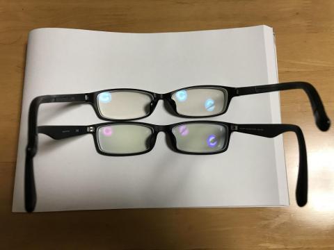 眼鏡のジンズのブルーライトカット率40%と13%の比較