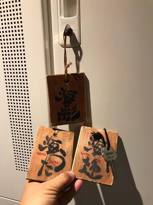湯之谷温泉のゲストハウス部屋「海」の部屋の鍵、ロッカーの鍵