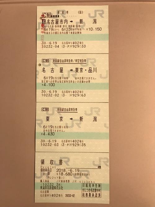 名古屋駅から新潟駅までの切符(乗車券・新幹線自由席特急券/特定特急券)と領収書