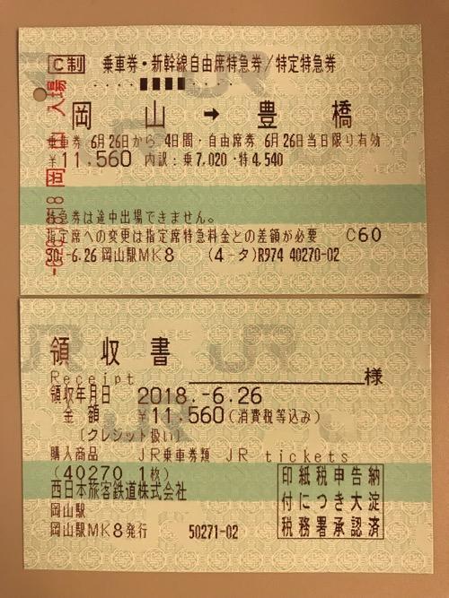岡山駅から豊橋駅までの切符(乗車券・新幹線自由席特急券/特定特急券)と領収書