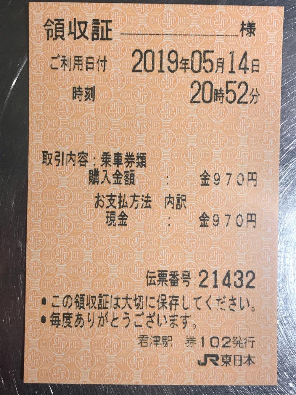 JR君津駅の自動券売機発行の970円分の領収証