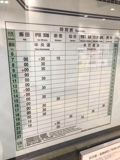 名鉄バスセンターから飯田までの時刻表(Timetable)