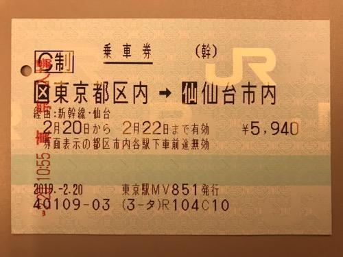 東京駅から仙台駅までの新幹線の乗車券