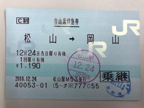 松山駅から岡山駅までの自由席特急券